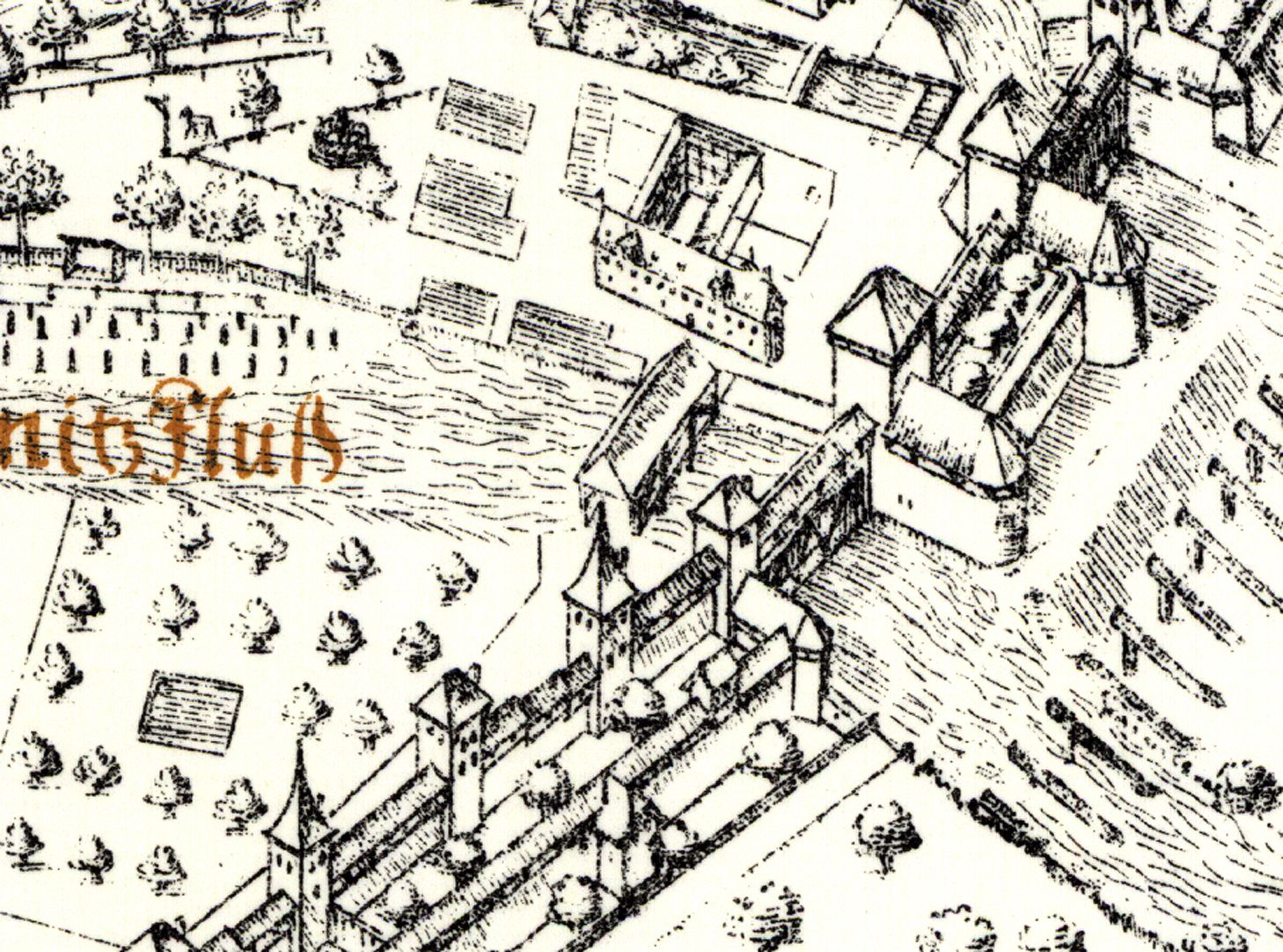 Kress´s map of Nuremberg with surrounding wall River Pegnitz with Casemate Gate and Canon Towers of 1559, on the left of them the old fencing house