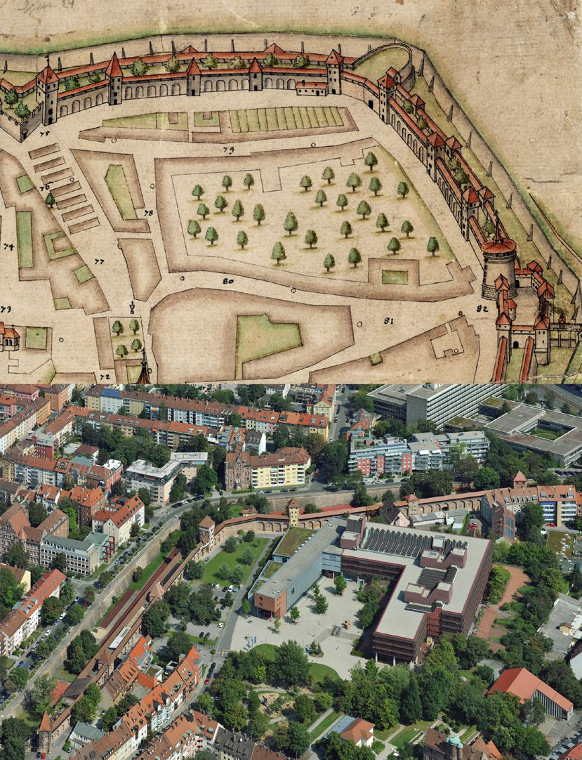 Nuremberg top view from the south Comparison of Maxtormauer (Max Gate Wall) according to Bien and state today: in the place of the old gardens there are the buildings of the university