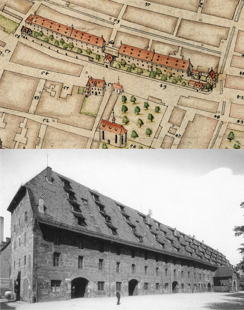 Nuremberg top view from the south Comparison, Granaries according to Bien and state until 1845 (Photo Municipal Archive Nuremberg A91/III). The Buildings of today have destroyed the ensemble of the once so valuable estate.