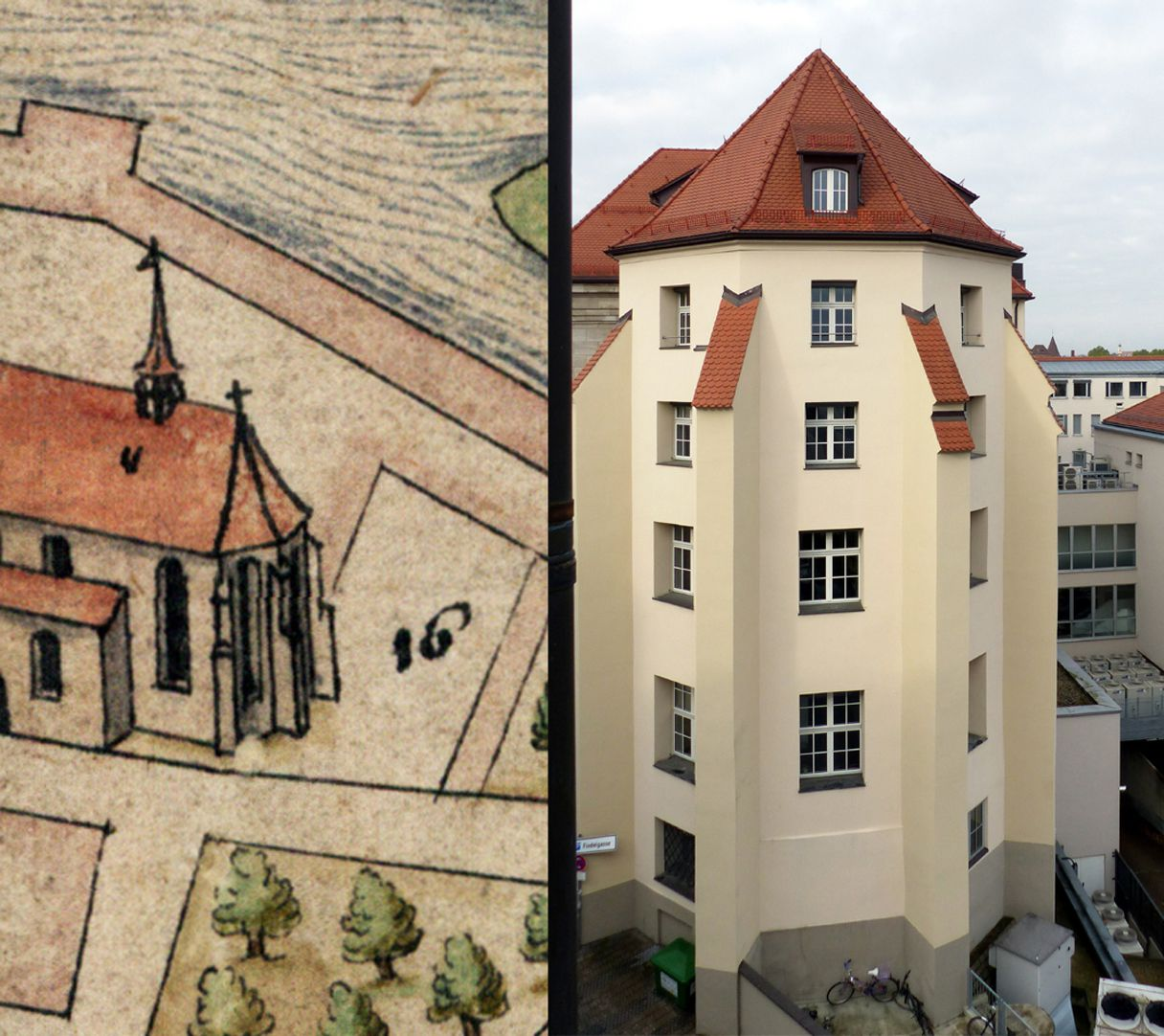 Nuremberg top view from the south Comparison, Choir of the Barfüßerkirche according to Bien with the building of today (the lancet window of the church correspond to the four storeys of the new building that has been secularized long ago and is today part of the Hypovereinsbank)