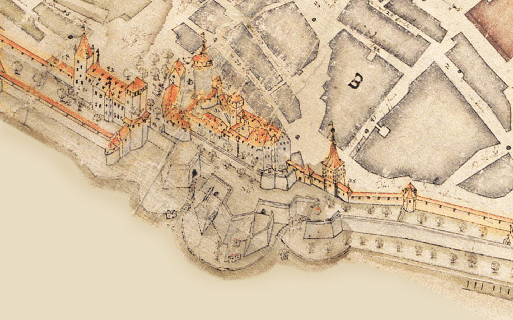This City of Nuremberg within its enclosing walls… Detail of the castle area brought into vertical position