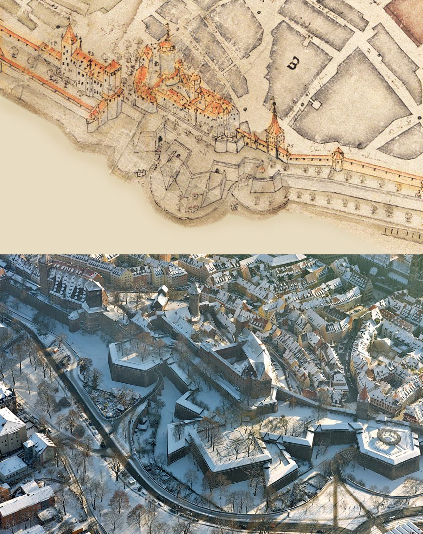 This City of Nuremberg within its enclosing walls… Comparison of Bien and aerial photo