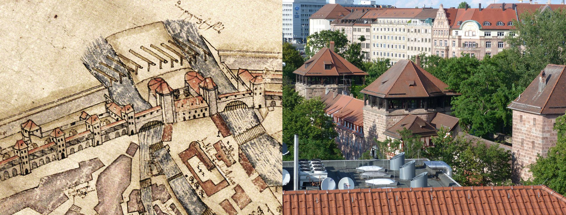 This City of Nuremberg within its enclosing walls… Comparison of Bien and aerial photo (from the southwest)