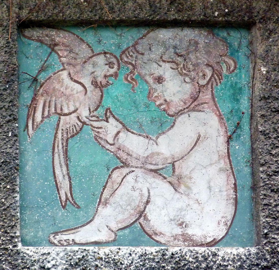Georg-Paul-Amberger-School Central pavilion, decorating panel, child with parrot