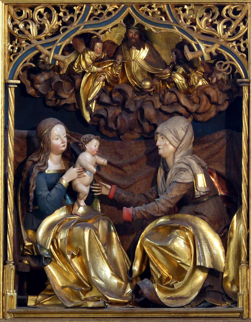 St. Anne´s Altar Central shrine with central group St. Anne with the Blessed Virgin and Baby Jesus, God Father, angels and heaven