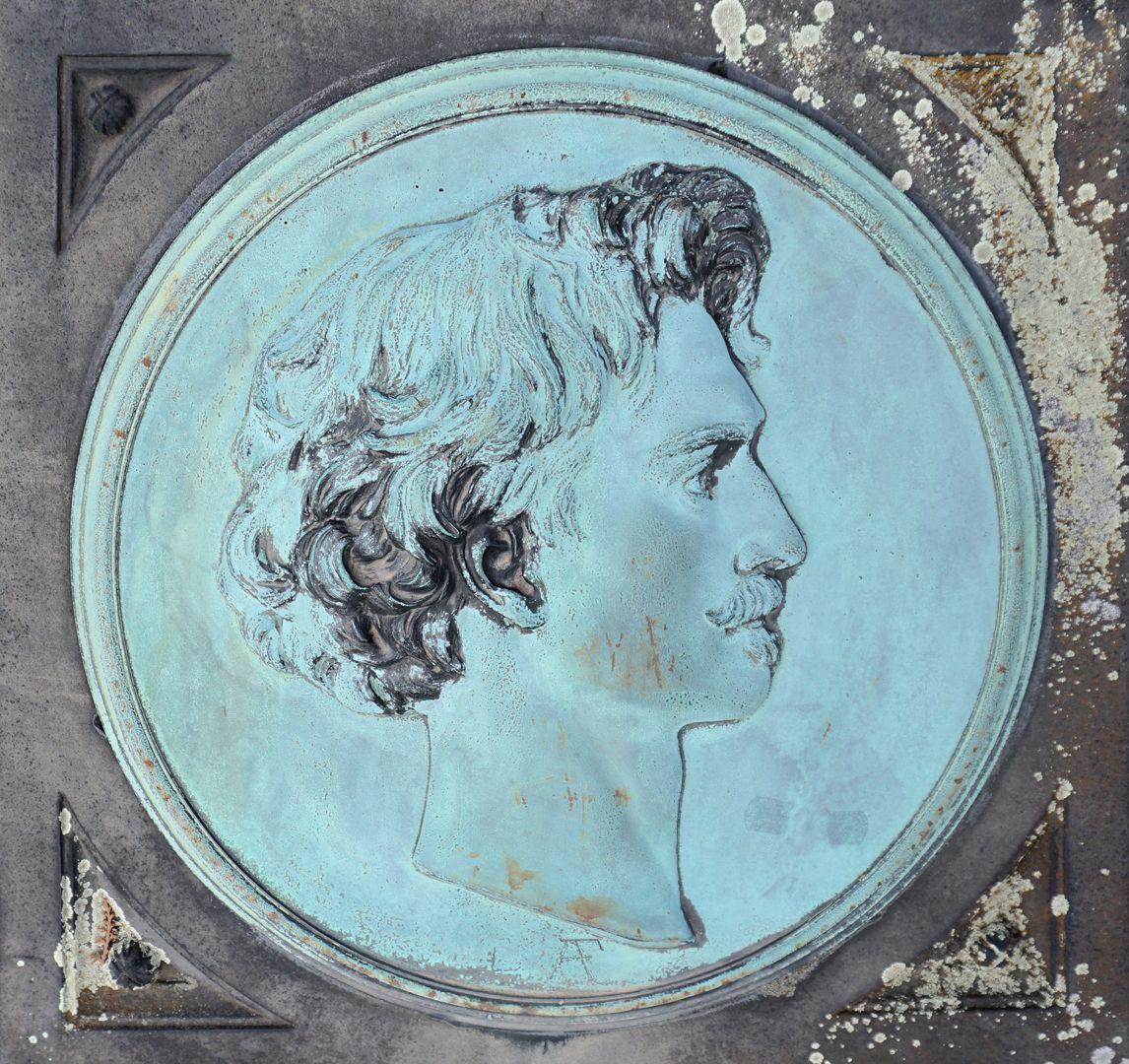 Anselm Feuerbach Grabstätte Portrait des Künstlers nach seinem Selbstbildnis von 1875 (Staatsgalerie Stuttgart)