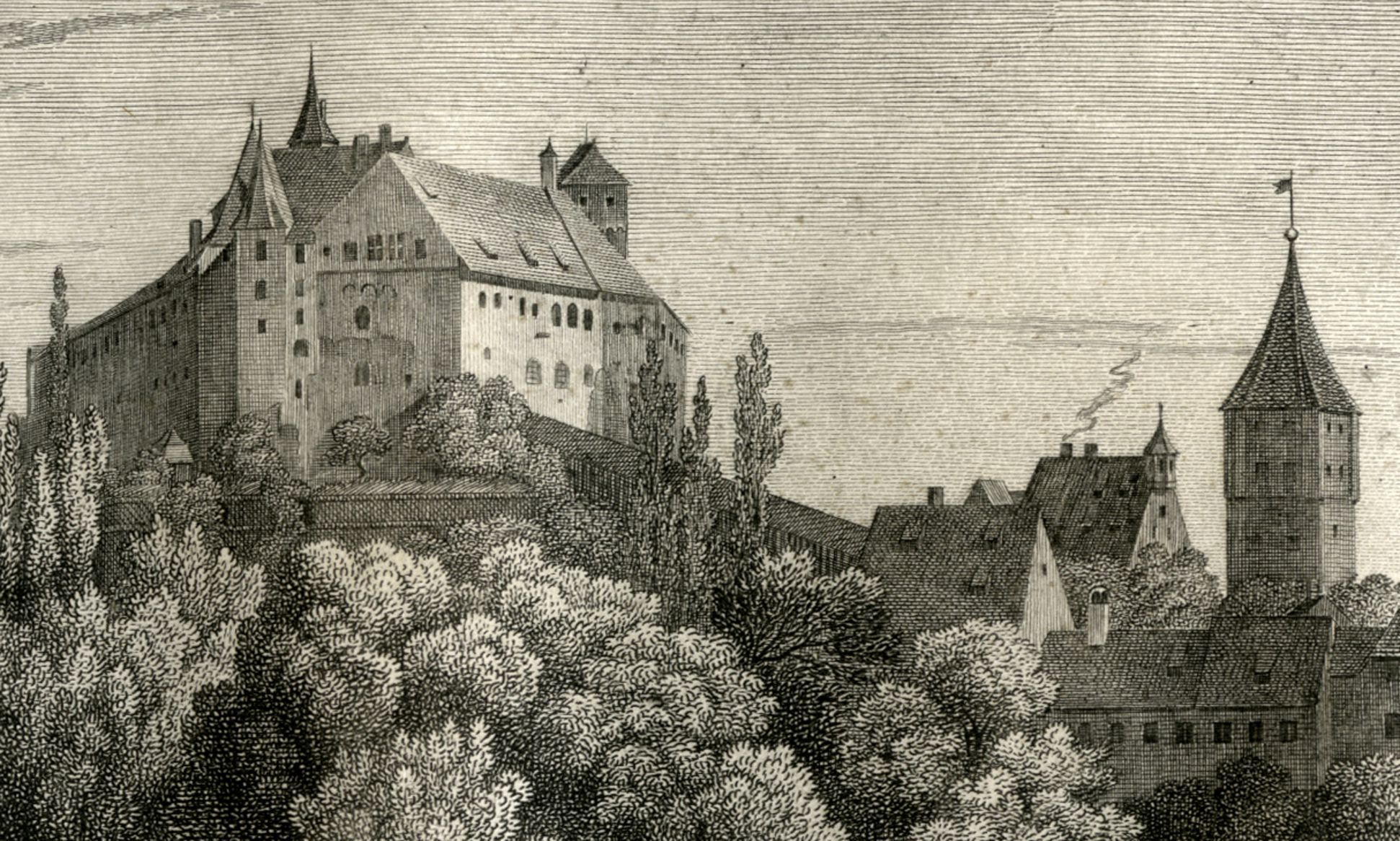 View of the Nuremberg Castle Castle, Pilatus house, Tiergärtnertorturm