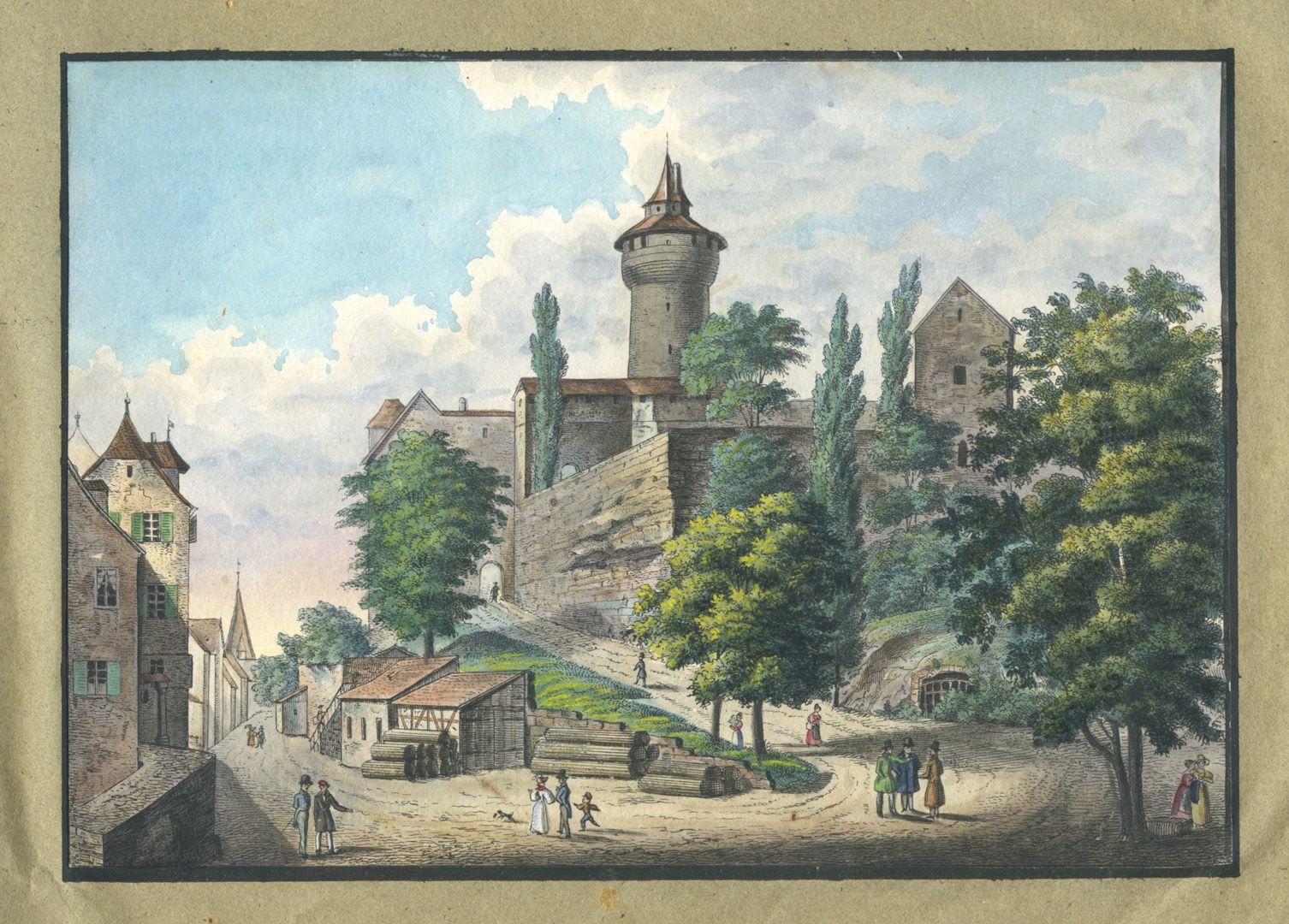 """Ansichten von Nürnberg und seinen Umgebungen """"Weg nach der Burg zu Nürnberg"""""""