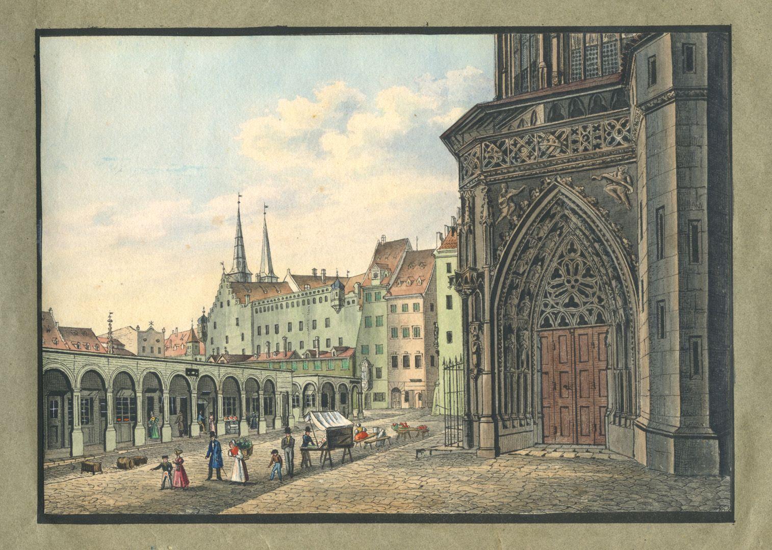 """Ansichten von Nürnberg und seinen Umgebungen """"Der Marktplatz mit dem linken Seitenportal der Frauenkirche in Nürnberg"""""""