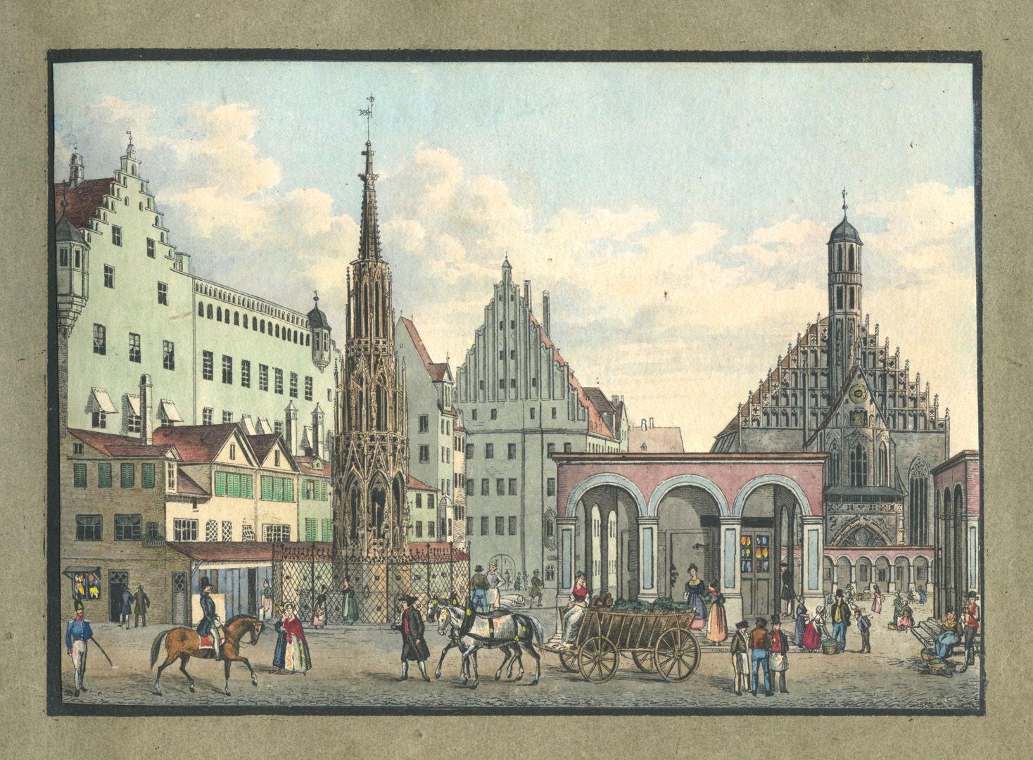 """Ansichten von Nürnberg und seinen Umgebungen """"Der Marktplatz mit dem schönen Brunnen in Nürnberg"""""""