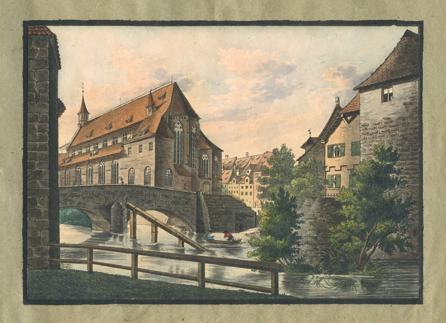 """Ansichten von Nürnberg und seinen Umgebungen """"Die Spitalkirche in Nürnberg"""""""