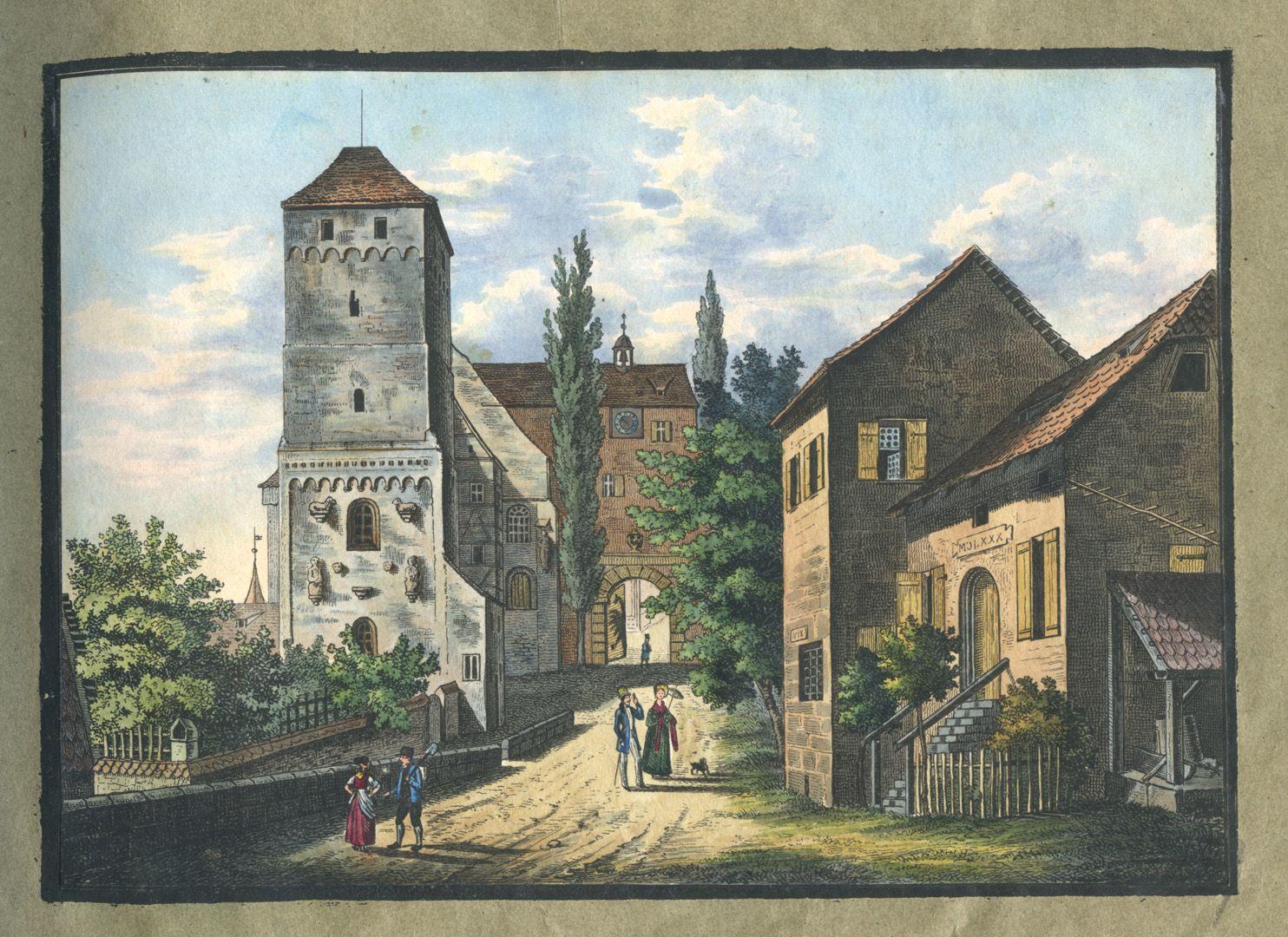 """Ansichten von Nürnberg und seinen Umgebungen """"Der Heidenthurm auf der Burg in Nürnberg"""""""