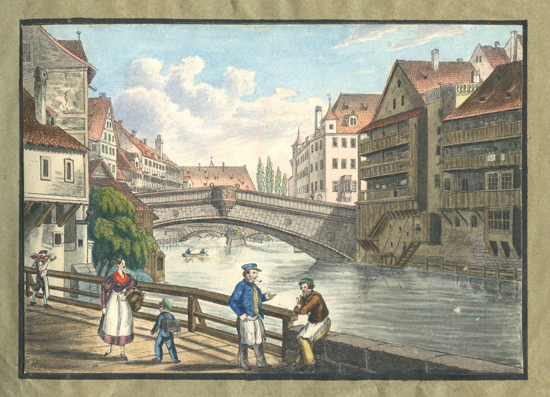 """Ansichten von Nürnberg und seinen Umgebungen """"Die Fleischbrücke in Nürnberg"""""""