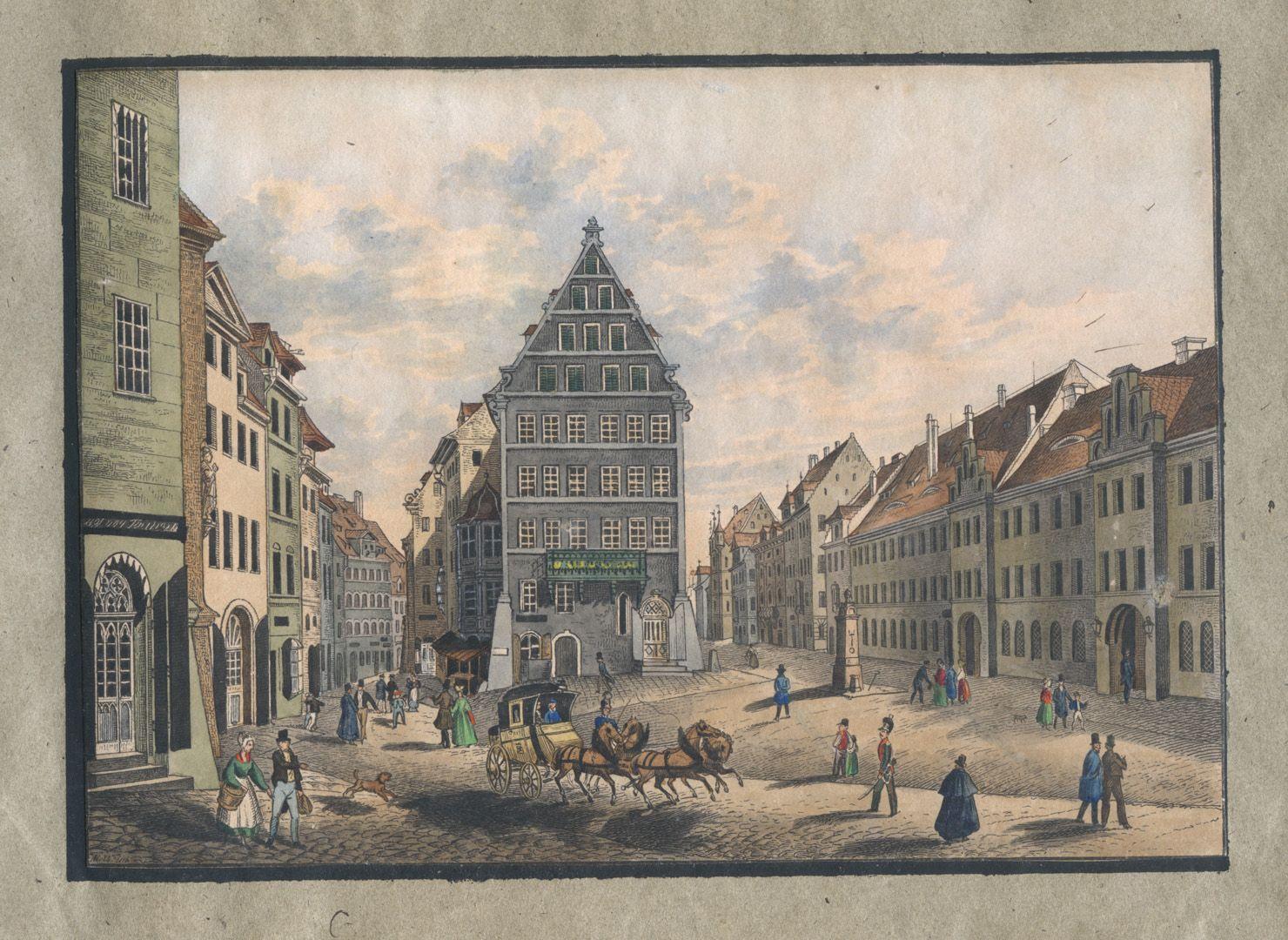 """Ansichten von Nürnberg und seinen Umgebungen """"Der Josephsplatz in Nürnberg"""""""