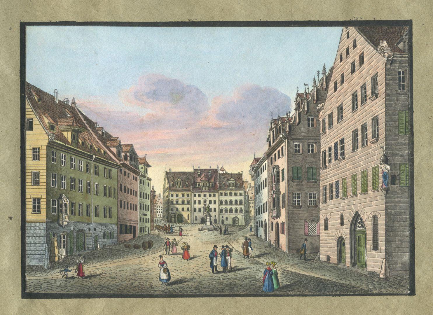 """Ansichten von Nürnberg und seinen Umgebungen """"Der Albrecht Dürer-Platz in Nürnberg"""""""