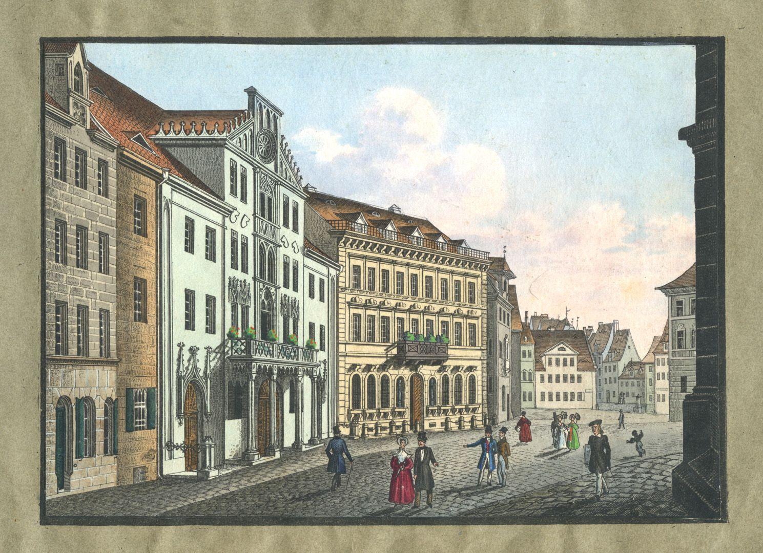 """Ansichten von Nürnberg und seinen Umgebungen """"Der Lorenzerplatz in Nürnberg"""""""