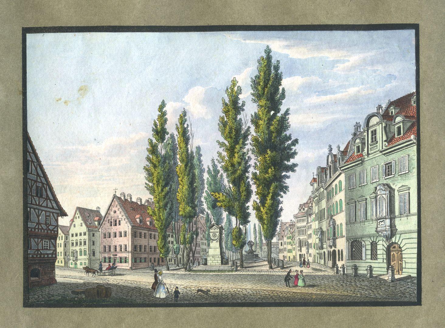 """Ansichten von Nürnberg und seinen Umgebungen """"Der Maxplatz in Nürnberg"""""""