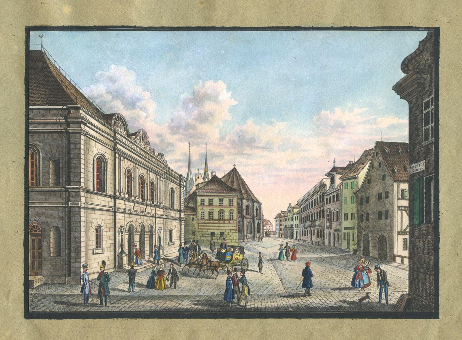"""Ansichten von Nürnberg und seinen Umgebungen """"Das Theater in Nürnberg"""""""