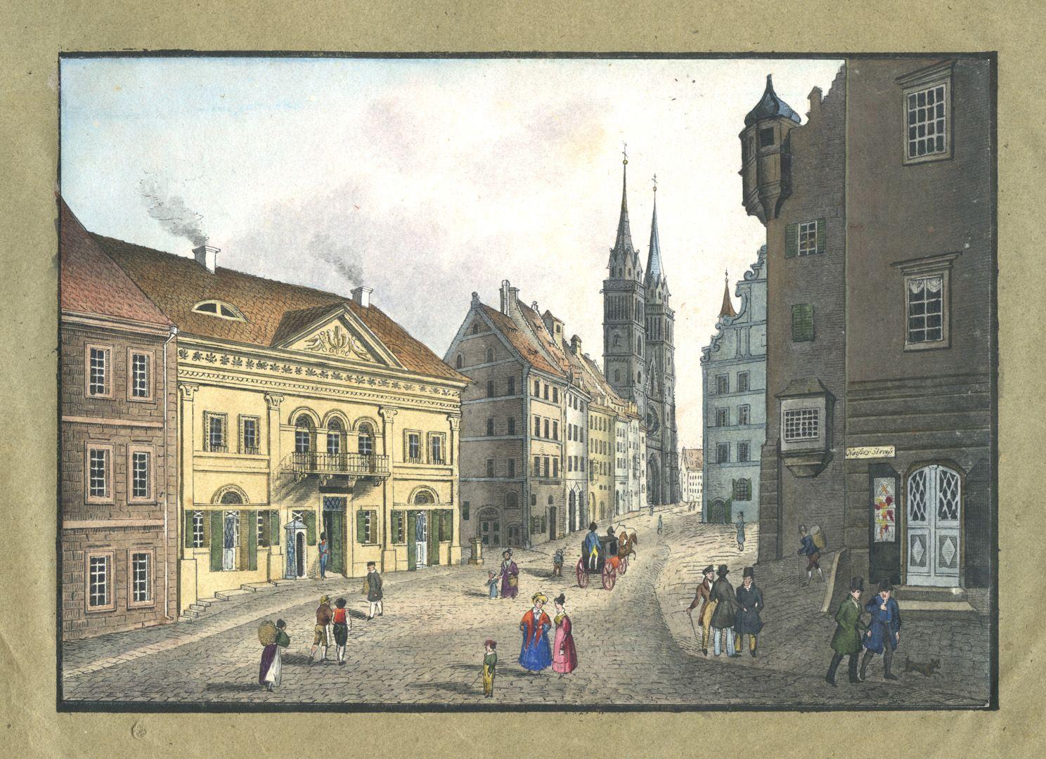 """Ansichten von Nürnberg und seinen Umgebungen """"Die Königsstrasse in Nürnberg"""""""