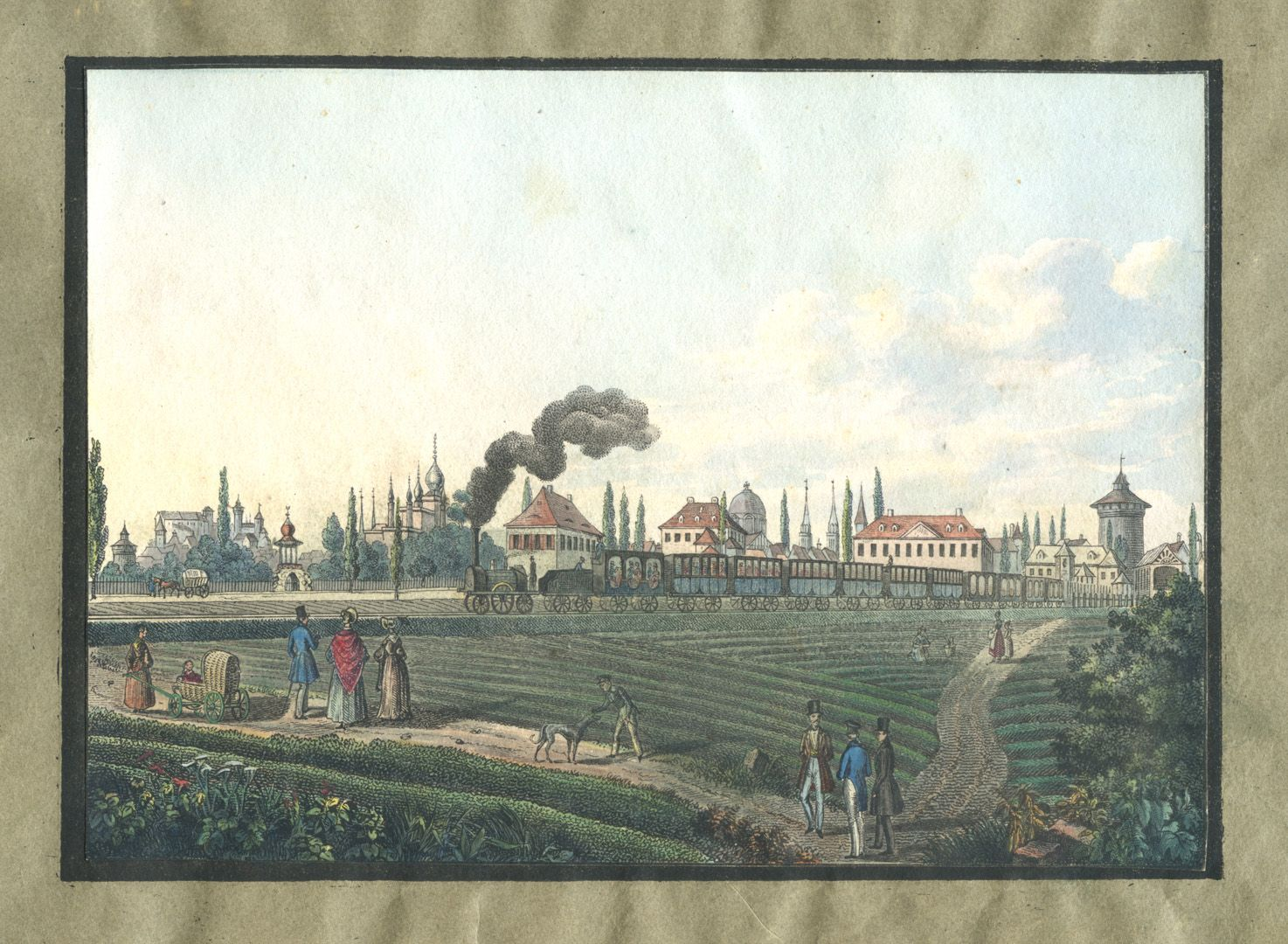 """Ansichten von Nürnberg und seinen Umgebungen """"Die Eisenbahn bei Nürnberg"""""""