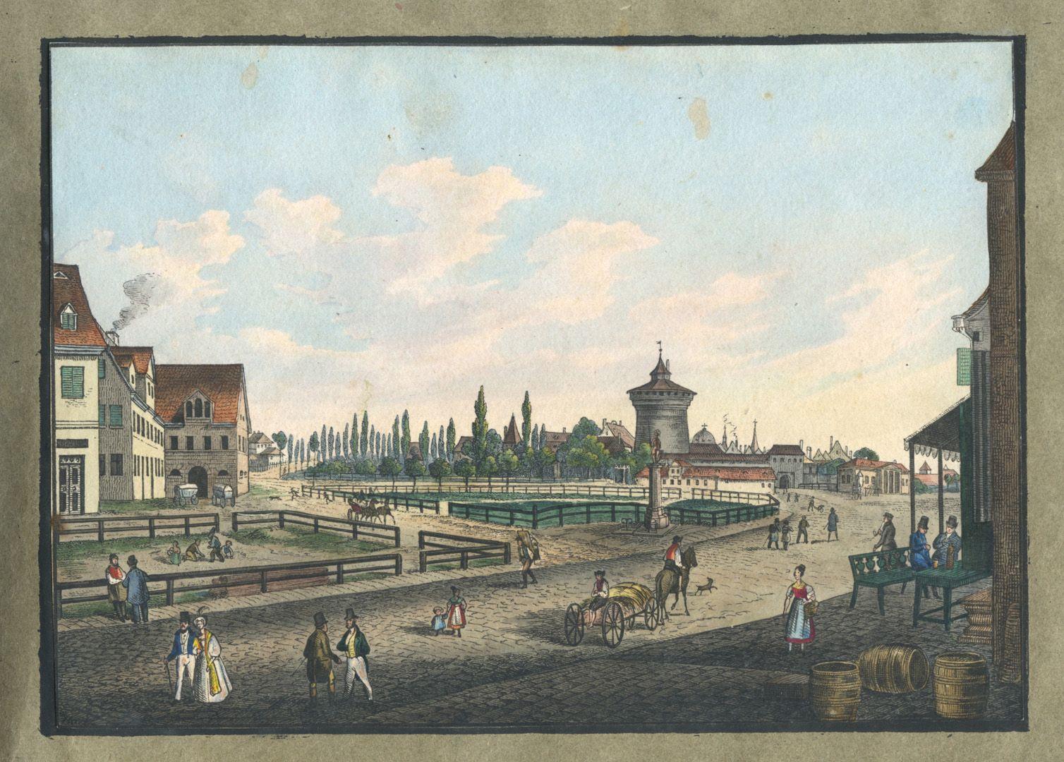 """Ansichten von Nürnberg und seinen Umgebungen """"Platz vor dem Spittlerthor in Nürnberg"""""""