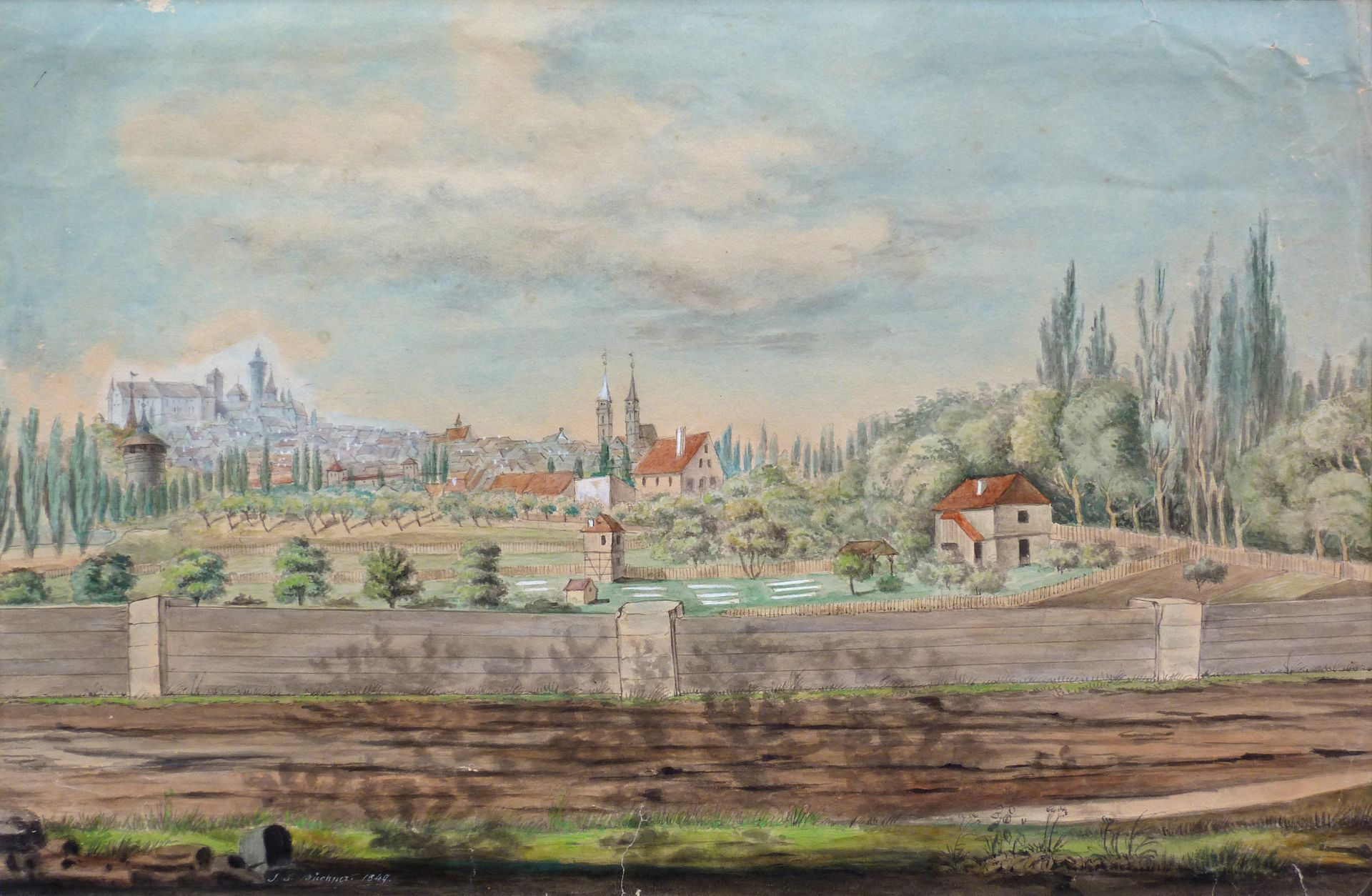 Rosenau with view to the castle and the old city of St. Sebald General view