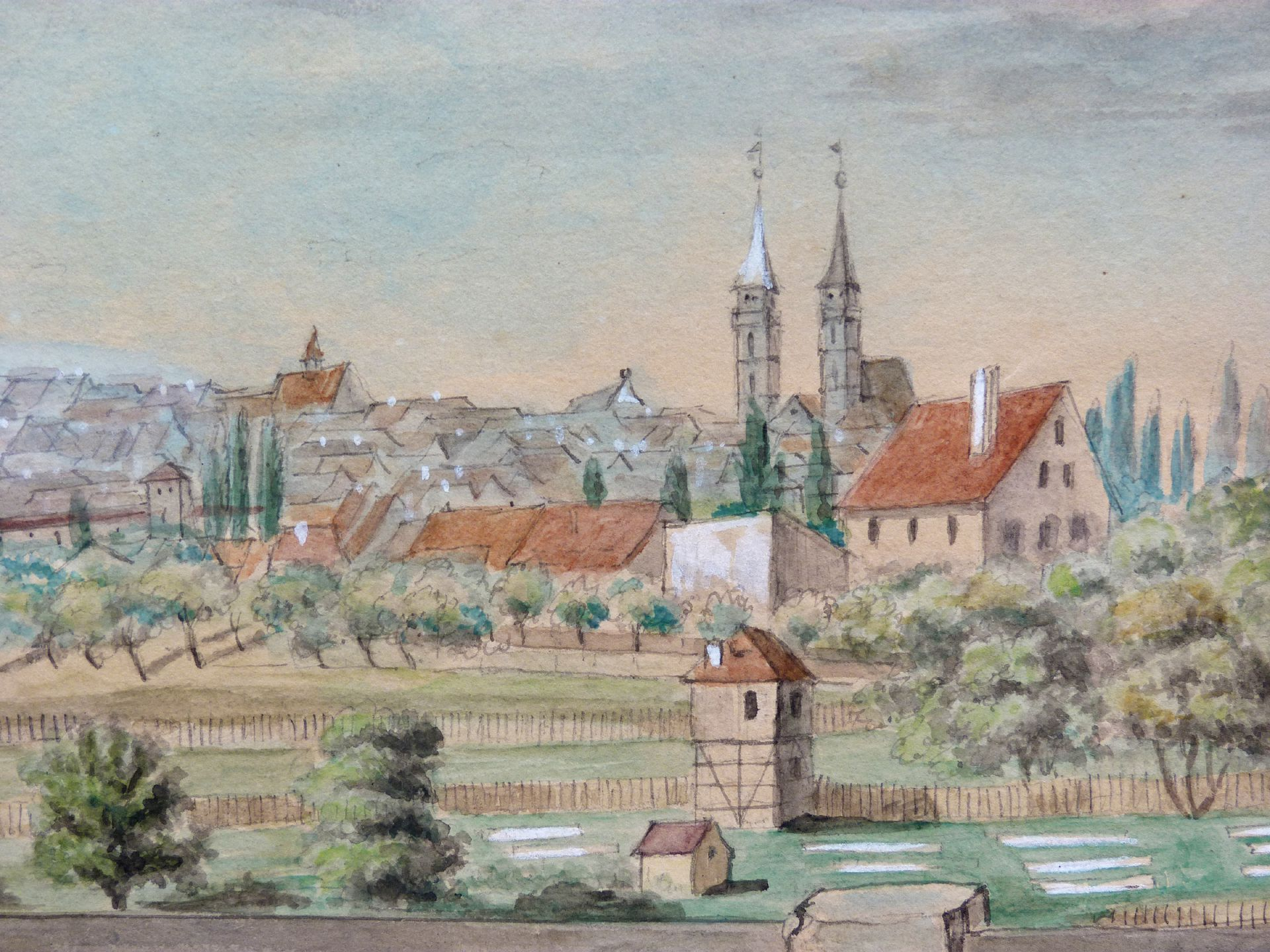Rosenau with view to the castle and the old city of St. Sebald View over the gardens towards St. Sebald Church
