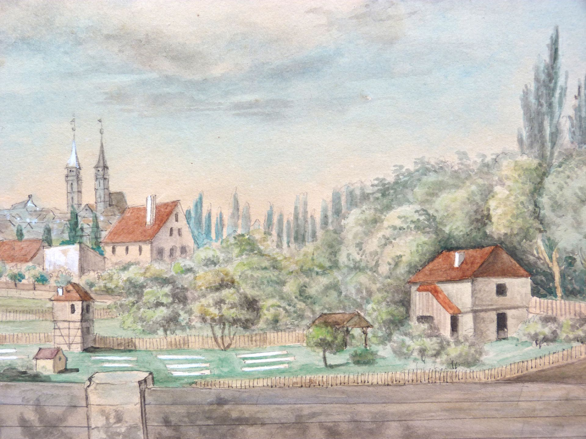 Rosenau with view to the castle and the old city of St. Sebald Gardens