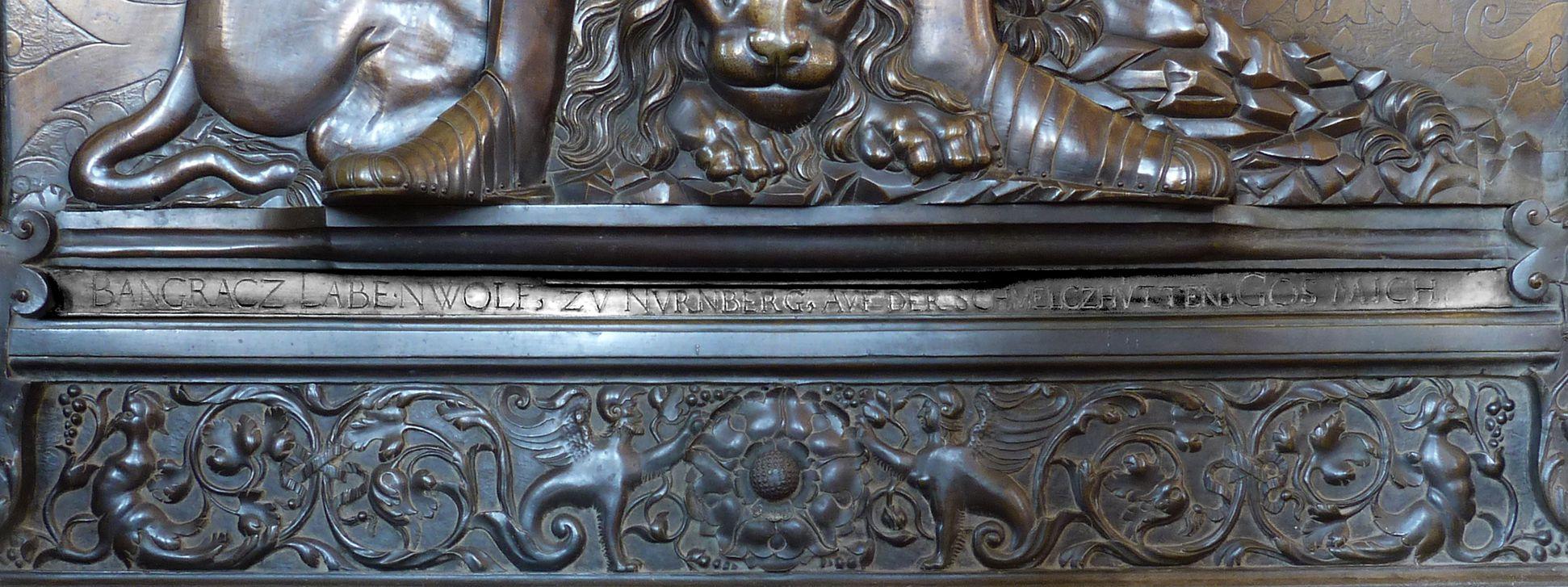 "Epitaph of Gottfried Werner Count of Zimmern (Meßkirch, Baden-Württemberg) Lower edge of the epitaph with the inscription: ""BANGRACZ LABENWOLF, ZV NVRNBERG, AVF DER SCHMELCZHVETTEN, GOS MICH"" cast by Pankraz Labenwolf in Nuremberg"