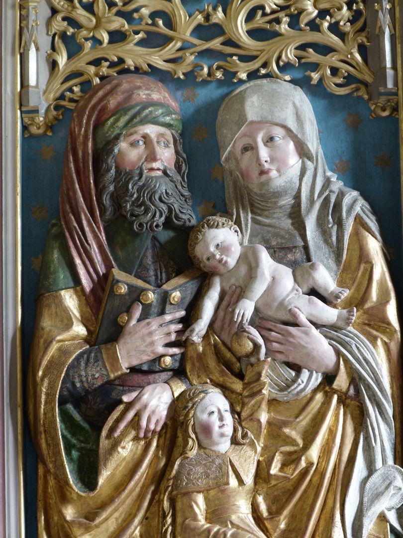 Beerbacher Altar ev. Pfarrkirche, linker Seitenflügel, Joachim, Anna, Jesuskind und Maria als Kind