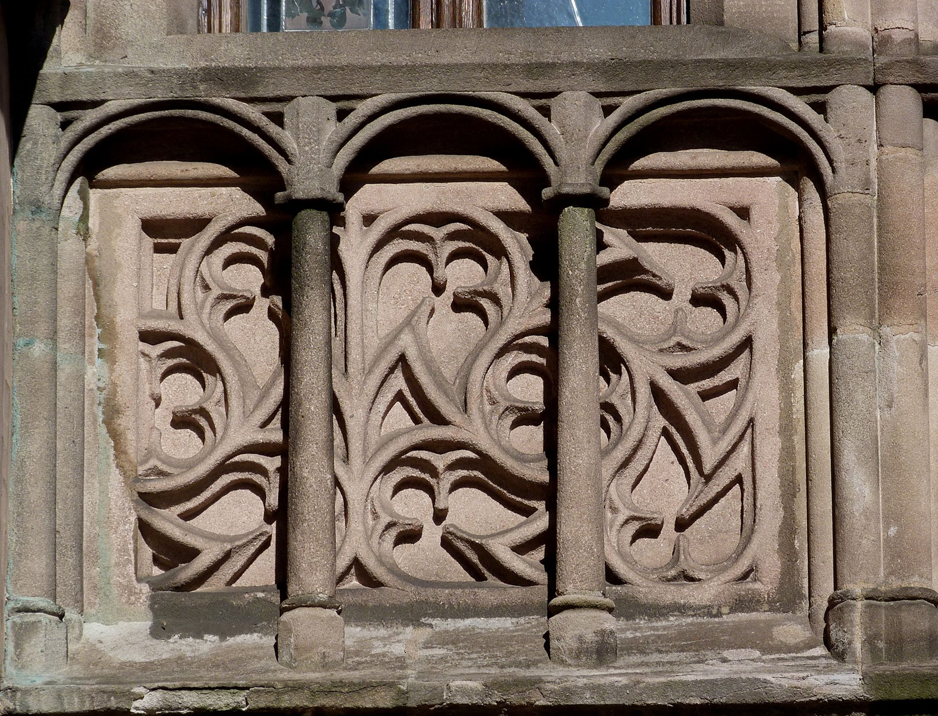 Building with Parlors for the Municipal Council Front of the Parlors for the Municipal Council, south side, detail of breastwork with tracery and stone lattice in front