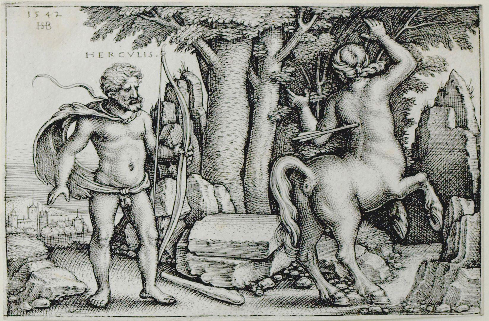 The deeds of Hercules Hercules kills Nessus 1542, 50 x 78 mm