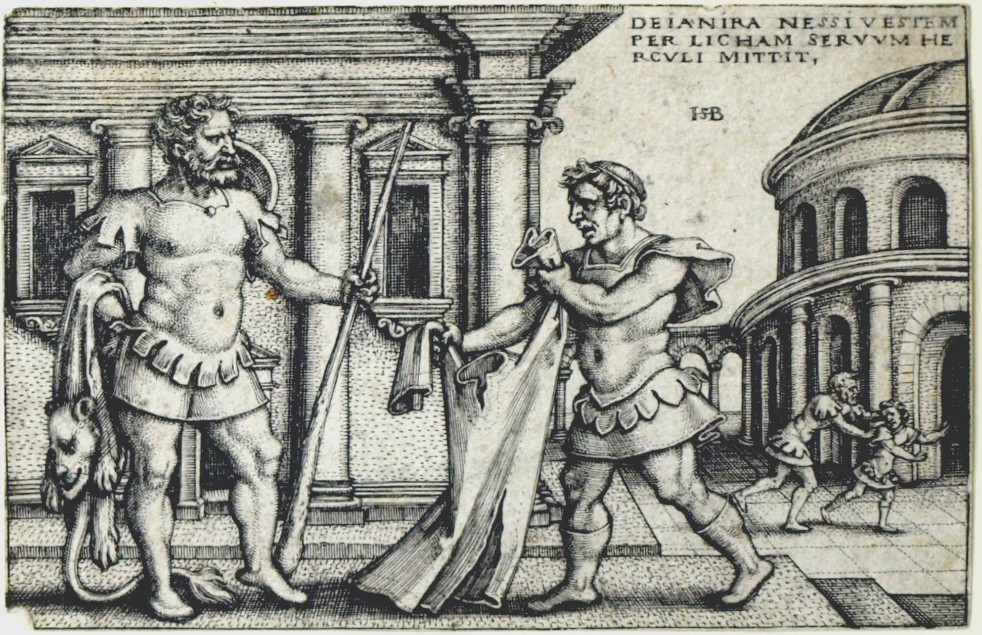The deeds of Hercules Dejanira sends Hercules the robe of Nessus by the slave Lichas, 53 x 78 mm