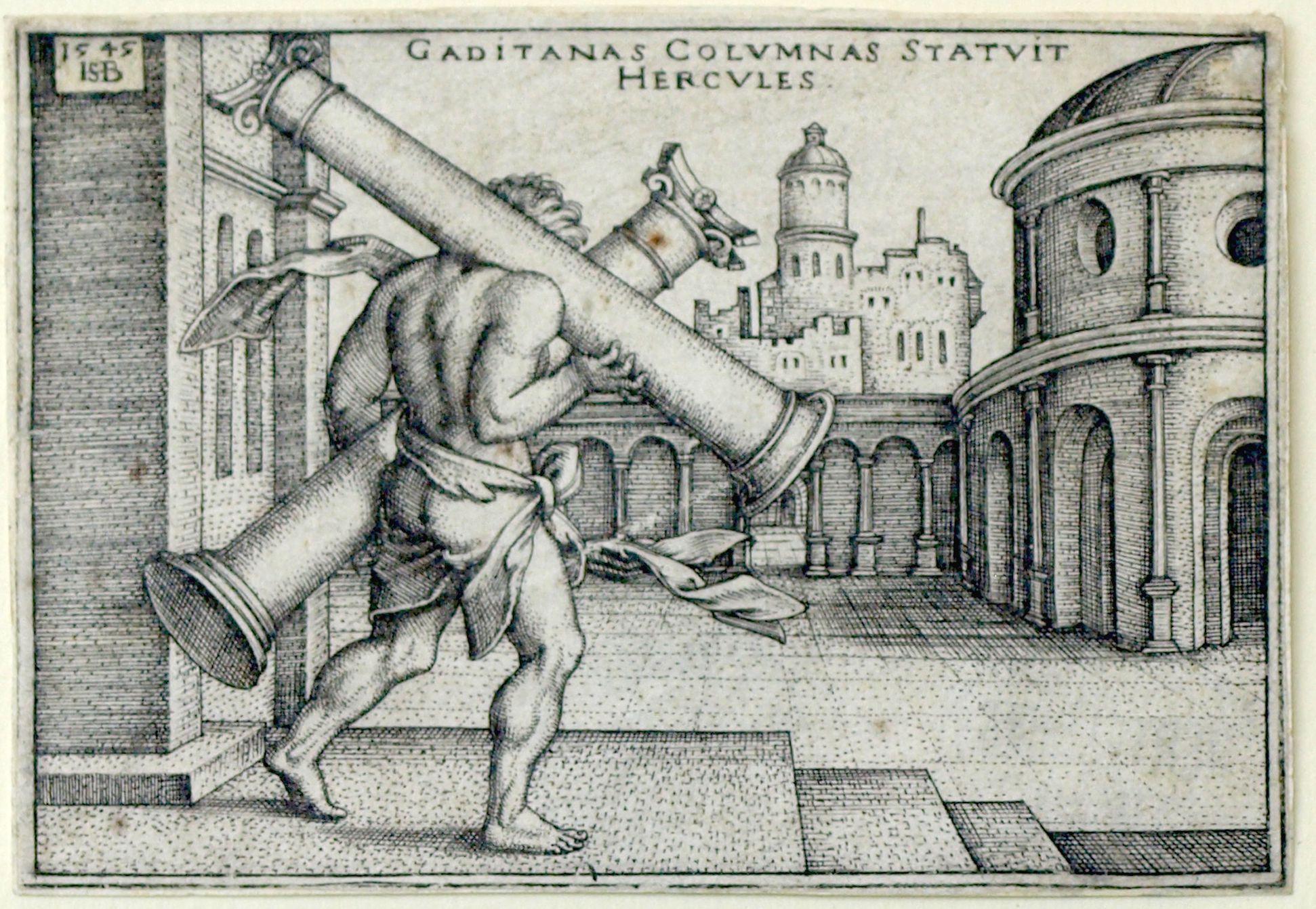 The deeds of Hercules Hercules erects the pillars of Gades, 1545, 48x70mm