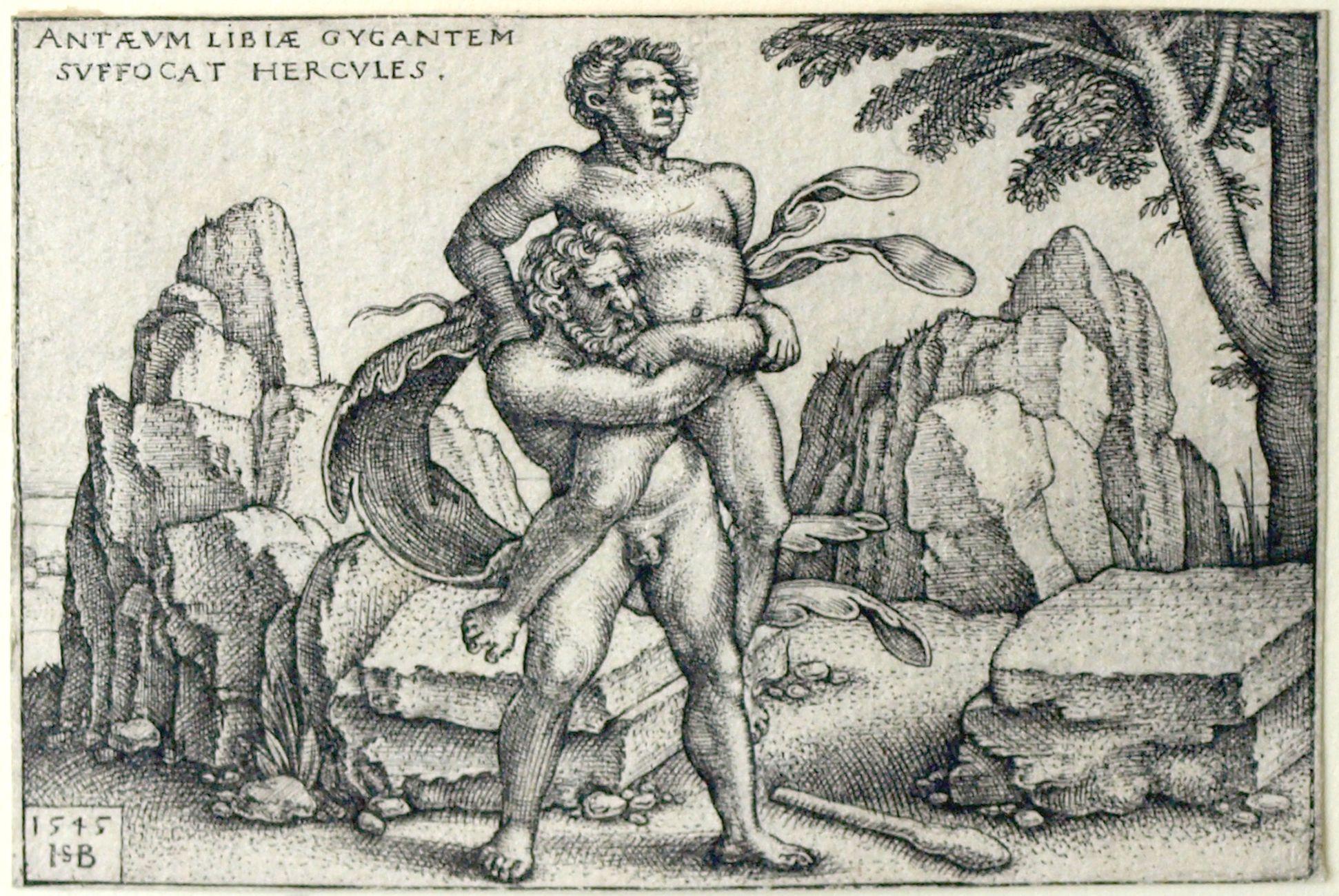 The deeds of Hercules Hercules strangles the giant Anteus of Libya to death, 48 x70 mm