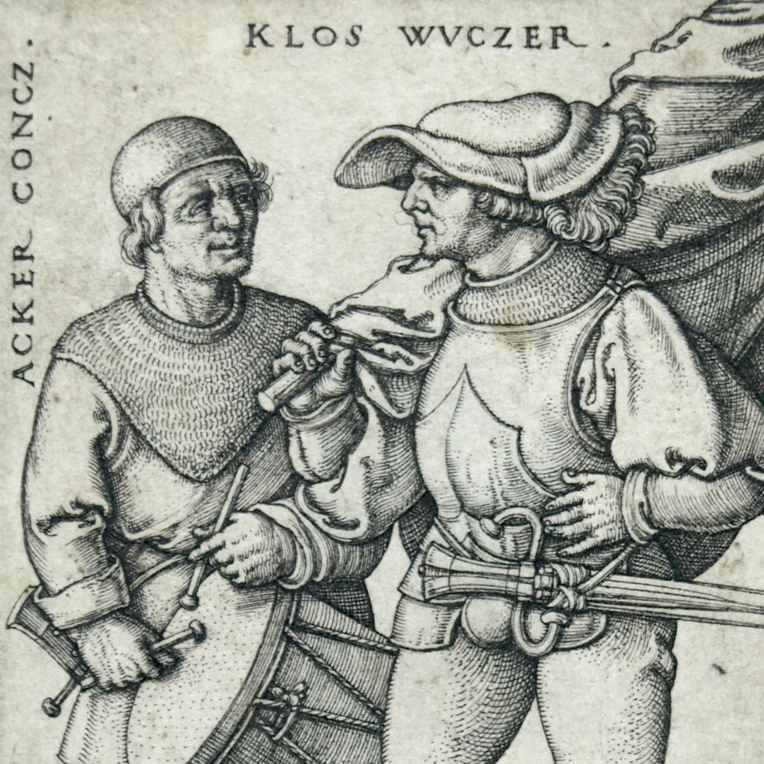 Ensign and drummer in the peasants' war 1525 Upper half of the picture