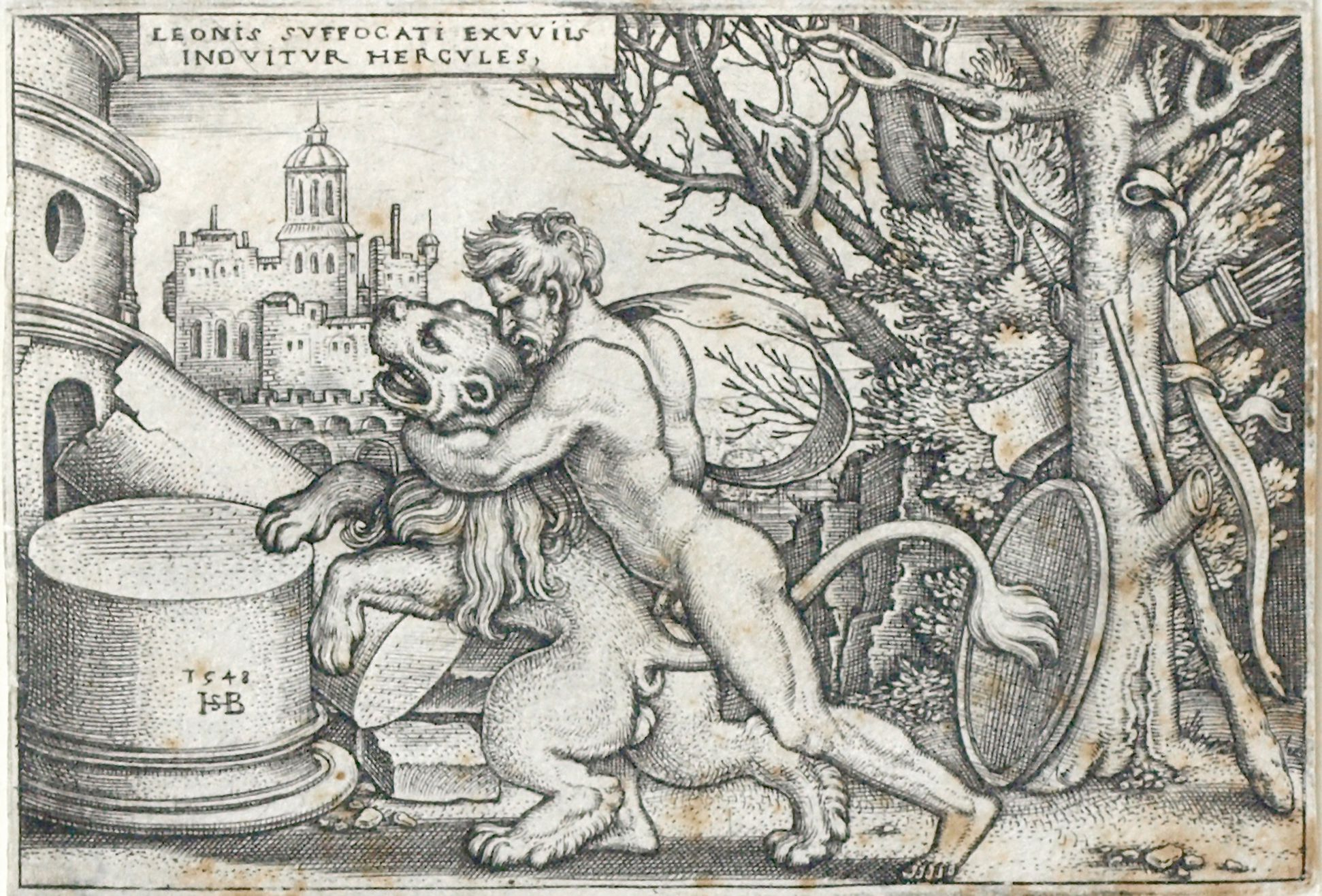 The deeds of Hercules Hercules strangles the Nemeic Lion to death, 1548, 52 x 77 mm