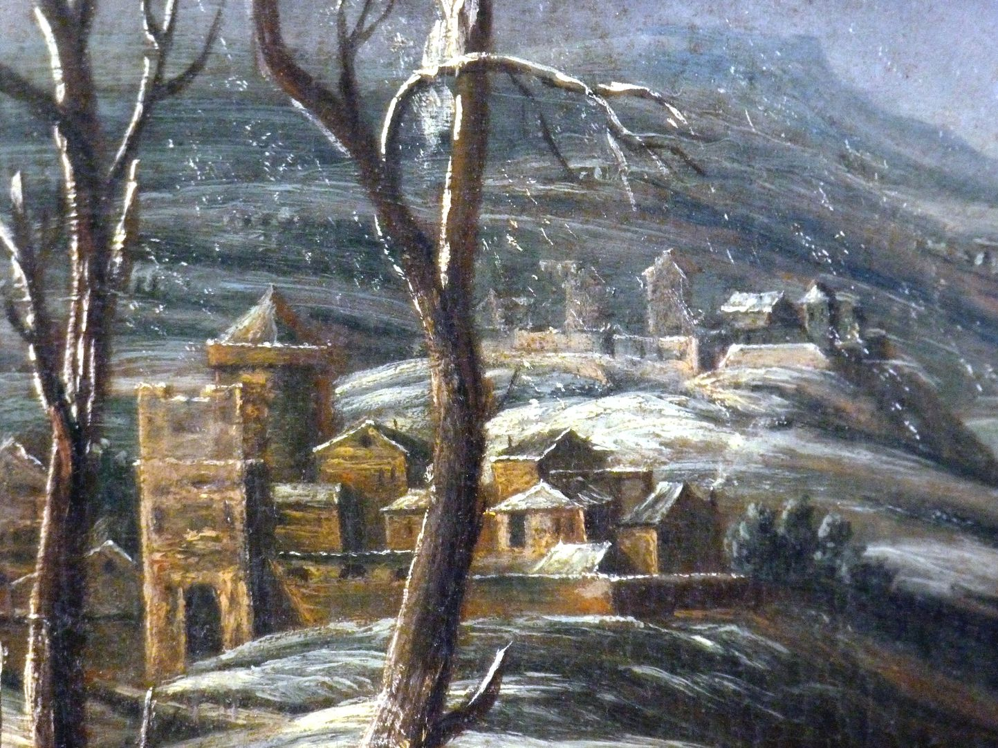 Winter landscape Detail, central left edge of the picture