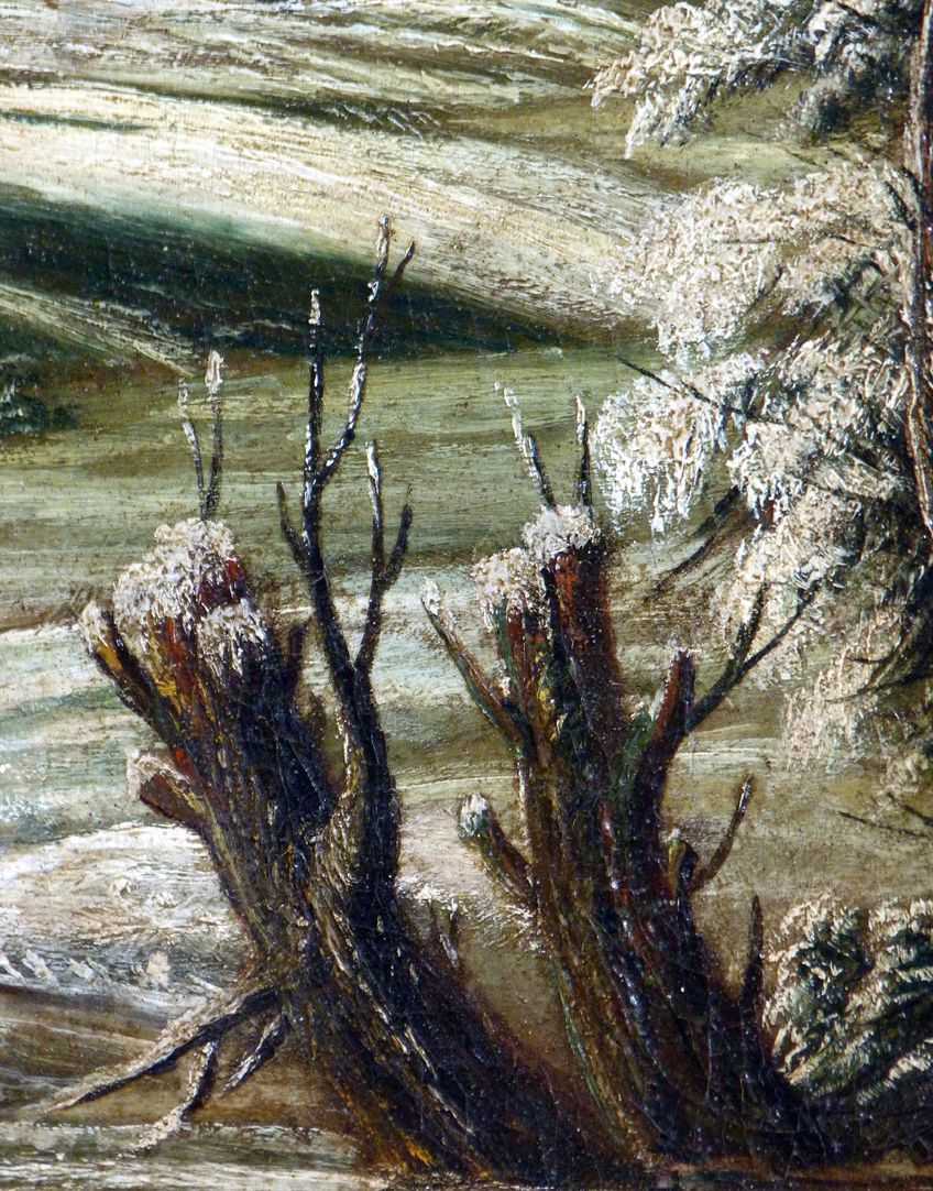 Winter landscape Detail with tree stubs