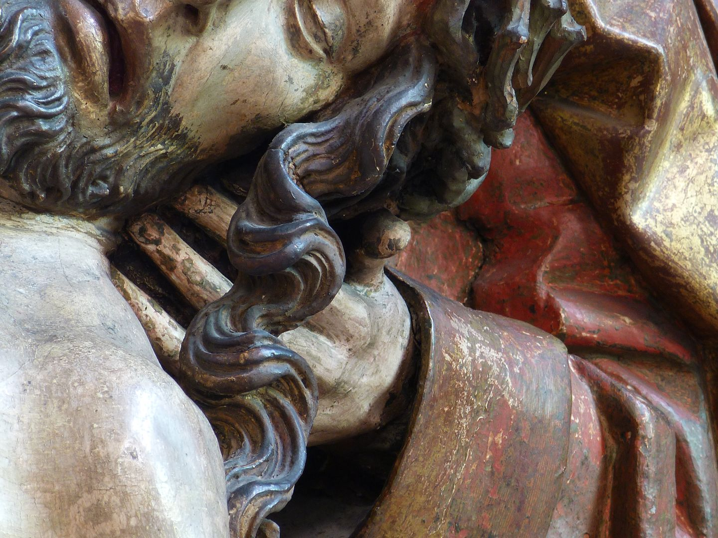 Great Pietà Head of Jesus and left hand of John, detail