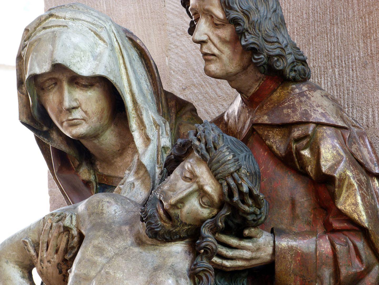 Great Pietà Jesus, Mary and John, detail
