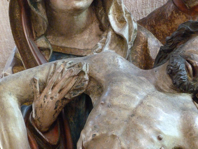 Great Pietà Maria hält Jesus, Detail