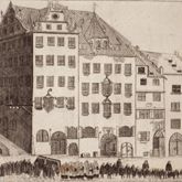 Prospect of the Rossmarkt (Horsemarket) to the Barfüßerbrücke (Grey Friars' Bridge) with funeral procession