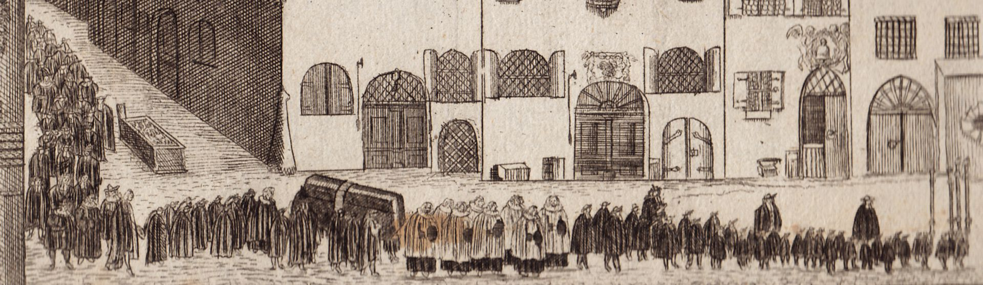 Prospect of the Rossmarkt (Horsemarket) to the Barfüßerbrücke (Grey Friars' Bridge) with funeral procession Funeral procession