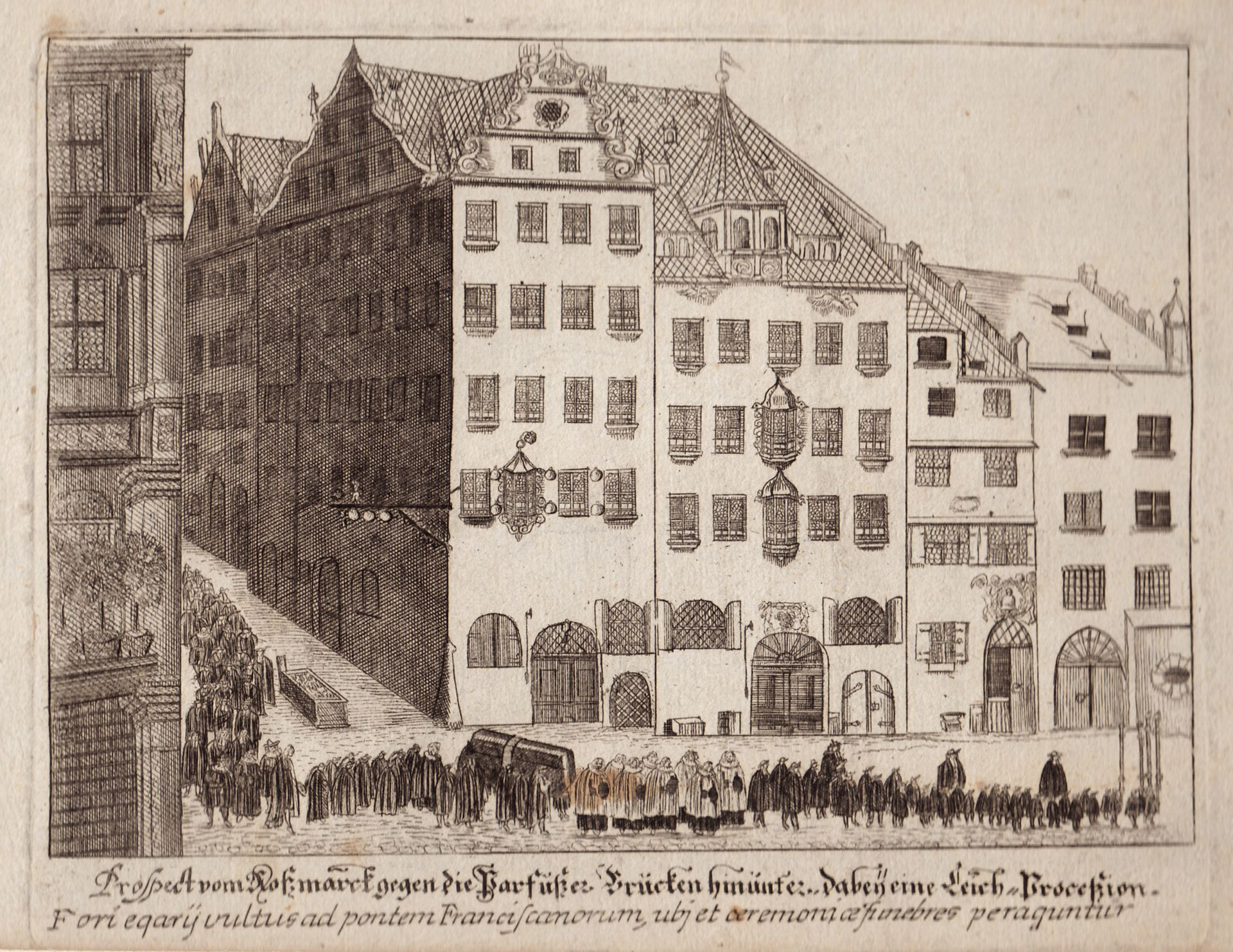 Prospect of the Rossmarkt (Horsemarket) to the Barfüßerbrücke (Grey Friars' Bridge) with funeral procession General view