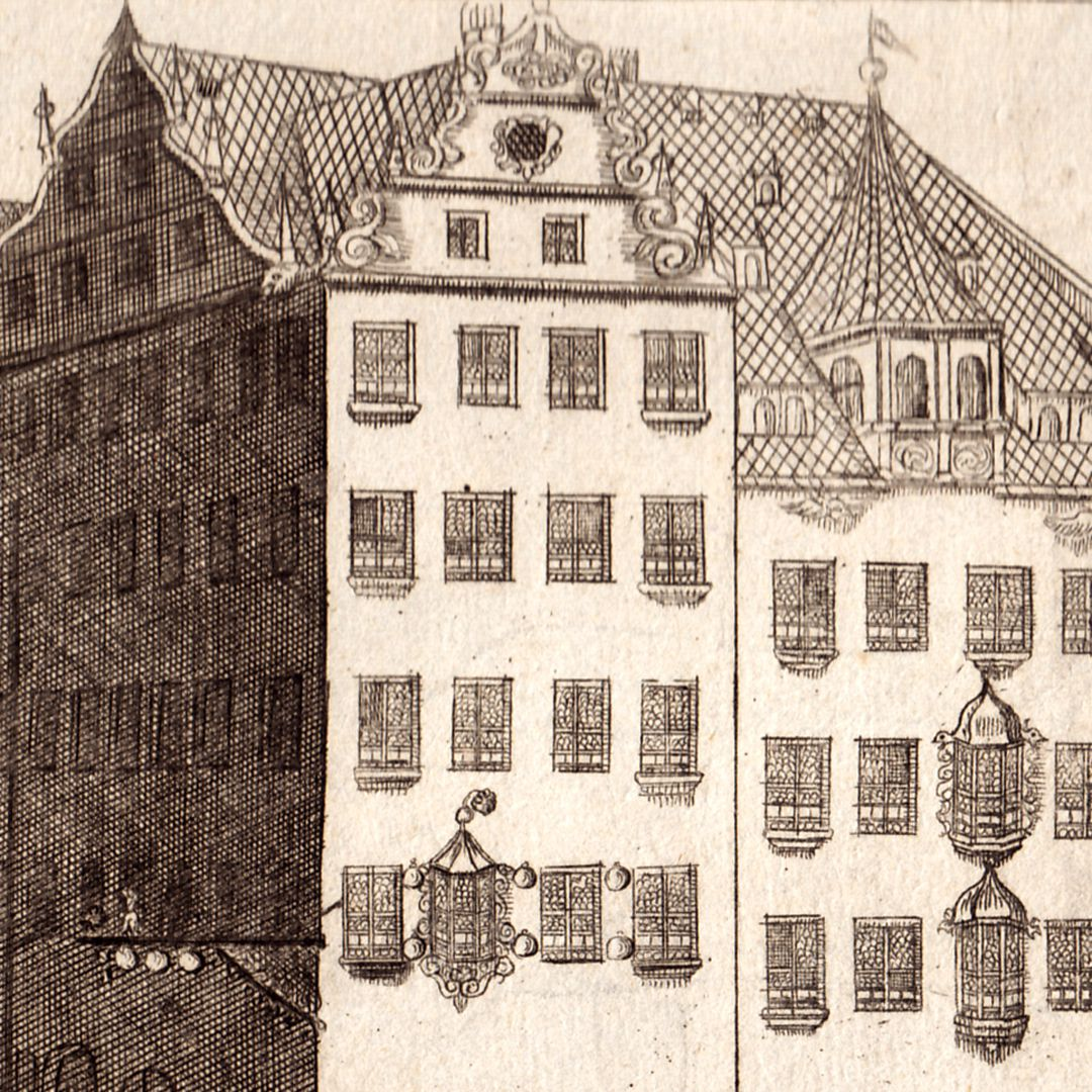 Prospect of the Rossmarkt (Horsemarket) to the Barfüßerbrücke (Grey Friars' Bridge) with funeral procession Detail