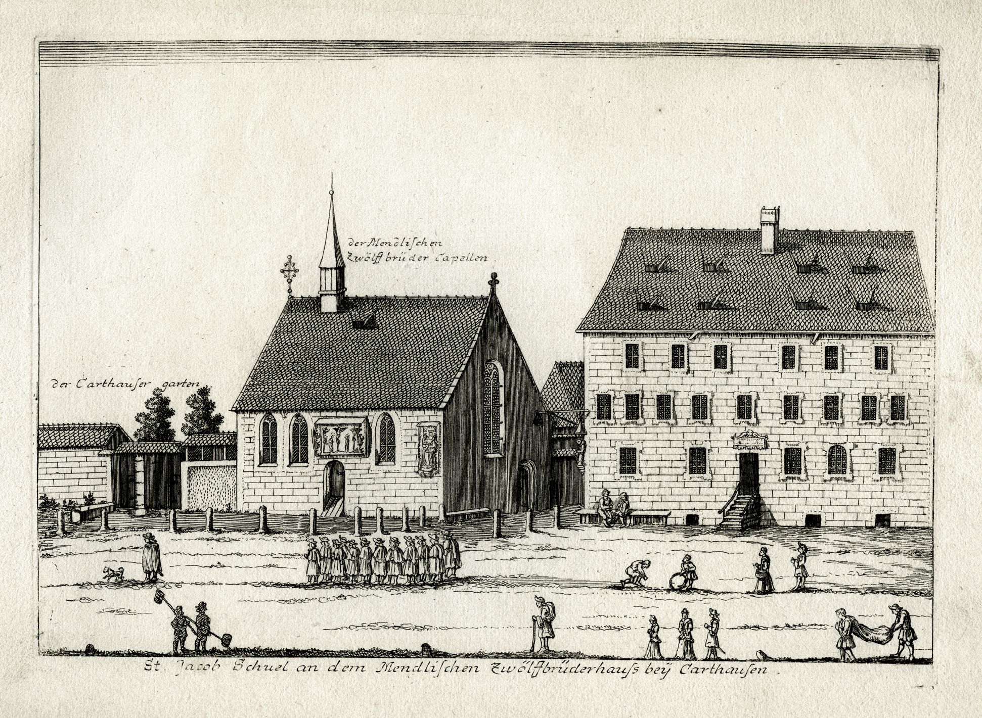 St. James´s School next to Mendel´s Twelve Brothers' House at the Charterhouse General view