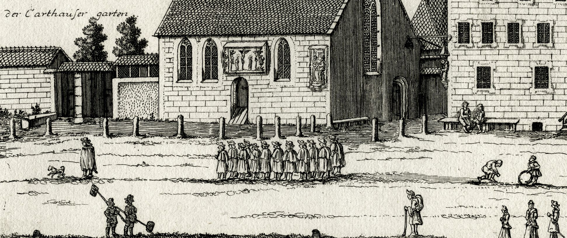 St. James´s School next to Mendel´s Twelve Brothers' House at the Charterhouse Forecourt, detail