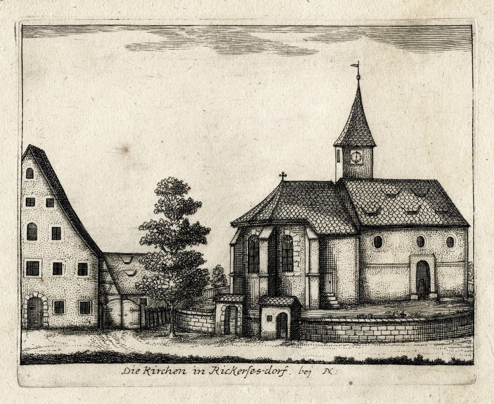 Die Kirchen in Rickerses-dorf. bej N: General view