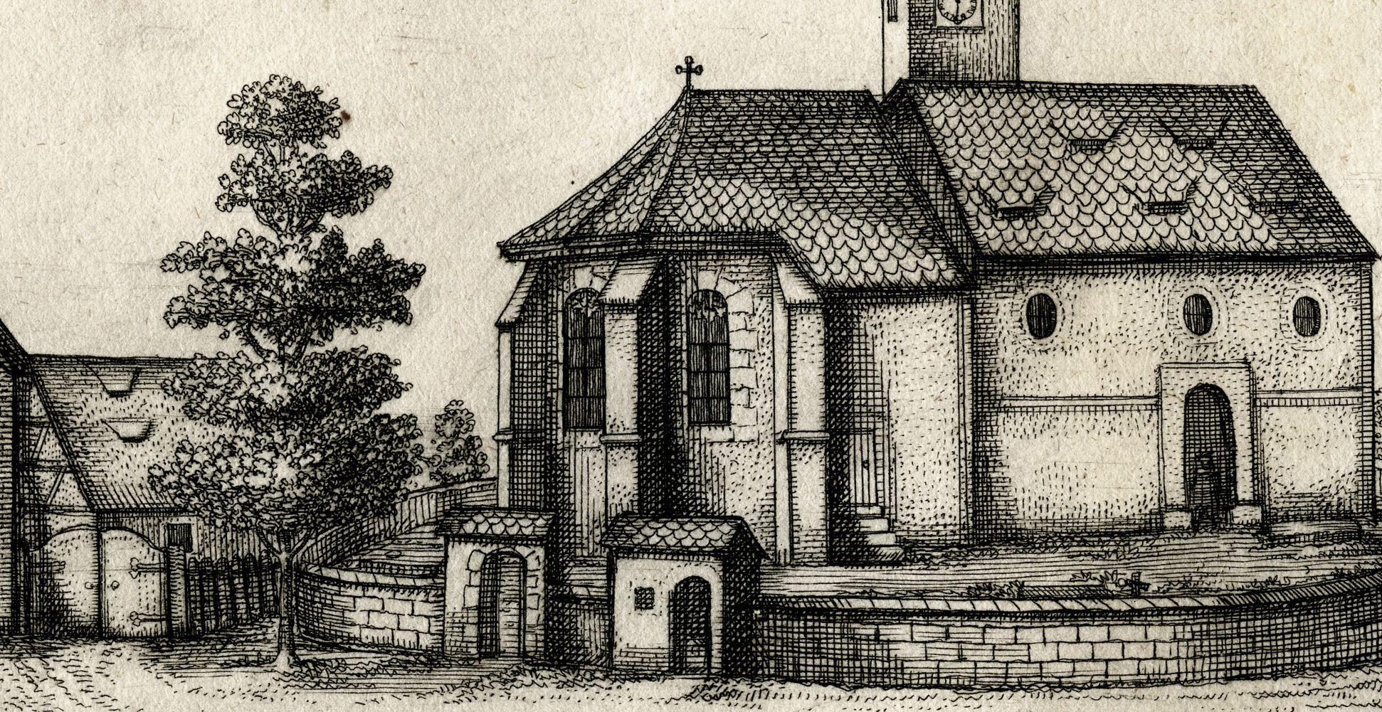 Die Kirchen in Rickerses-dorf. bej N: Churchyard, detail
